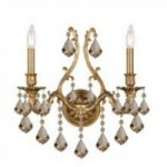 Crystorama Two Light Aged Brass Golden Teak Swarovski Elements Glass Wall Light - 5142-AG-GTS