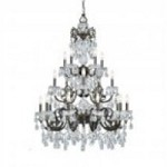 Crystorama Twenty Light English Bronze Swarovski Spectra Glass Up Chandelier - 5190-EB-CL-SAQ