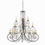 Crystorama Twenty One Light Dark Rust Hand Polished Glass Up Chandelier - 5219-DR-CL-MWP