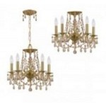 Crystorama Five Light Aged Brass Golden Teak Swarovski Elements Glass Up Chandelier - 5545-AG-GTS