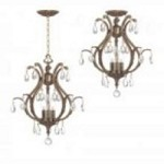 Crystorama Three Light Antique Brass Swarovski Spectra Glass Up Chandelier - 5560-AB-CL-SAQ