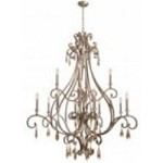Crystorama Twelve Light Distressed Twilight Golden Shade Hand Cut Glass Up Chandelier - 7520-DT