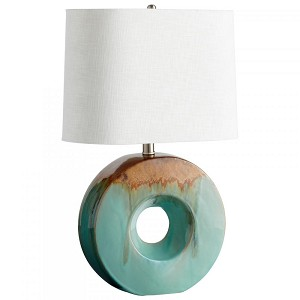 Cyan Designs One Light Blue Glaze And Brown White Linen Oval And White Lining Shade Table Lamp - 05213