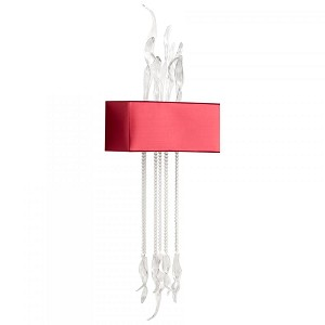 Cyan Designs One Light Red Fabric Shade Wall Light - 05392