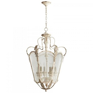 Cyan Designs Six Light Persian White And Mystic Silver Framed Glass Foyer Hall Fixture - 05781