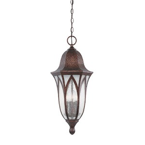 Designers Fountain Four Light Burnished Antique Copper Clear & Frosted Seedy Glass Hanging Lantern - 20634-BAC