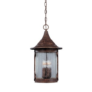 Designers Fountain Four Light Chestnut Aged Crackle Optic Glass Hanging Lantern - 20934-CHN
