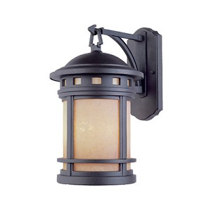 Designers Fountain Three Light Oil Rubbed Bronze Amber Glass Wall Lantern - 2381-AM-ORB