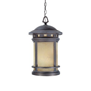 Designers Fountain Three Light Mediterranean Patina Amber Glass Hanging Lantern - 2394-AM-MP