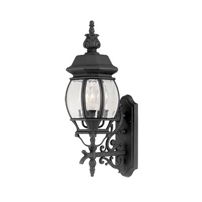 Designers Fountain Three Light Black Clear Glass Wall Lantern - 2412-BK