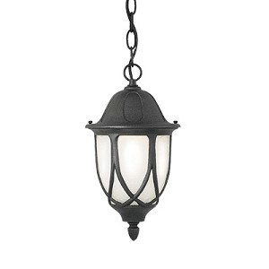 Designers Fountain One Light Black Satin Crackled Glass Hanging Lantern - 2864-BK
