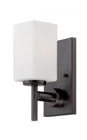 Designers Fountain One Light Biscayne Bronze Frosted White Inside Glass Bathroom Sconce - 6731-BBR