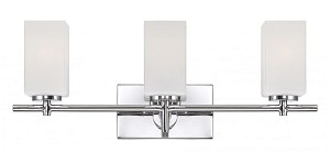 Designers Fountain Three Light Chrome Frosted White Inside Glass Vanity - 6733-CH