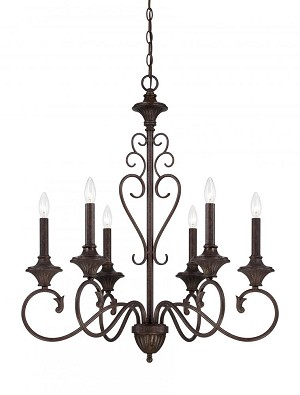 Designers Fountain Six Light Burnt Umber Up Chandelier - 84886-BU