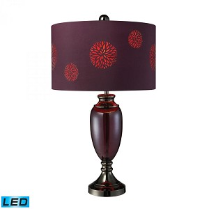 Dimond One Light Plum Glass And Black Chrome Table Lamp - D1894-LED