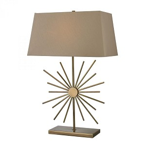 Dimond One Light Antique Brass Light Taupe Faux Silk, Hard Back, Matching Liner Fabric Shade Table Lamp - D2417