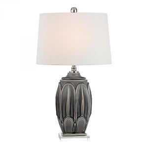 Dimond One Light Georgetown Grey Glaze White Faux Silk With White Liner Shade Table Lamp - D2450