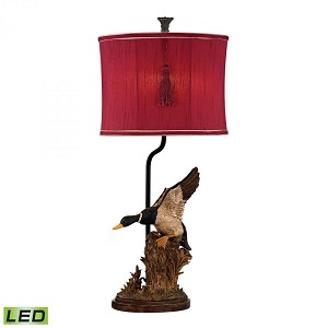 Dimond One Light Whitsun Red With Cream Liner, Faux Silk Shade Table Lamp - D2482-LED