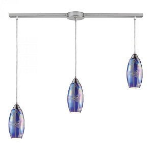 ELK Lighting Three Light Satin Nickel Storm Blue Glass Multi Light Pendant - 10076/3L-SBI