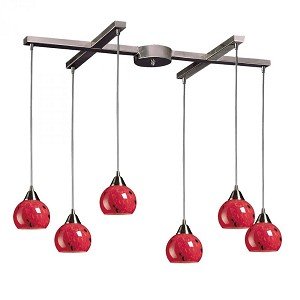 ELK Lighting Six Light Satin Nickel Fire Red Glass Multi Light Pendant - 101-6FR