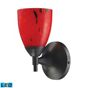 ELK Lighting One Light Deep Rust Fire Red Glass Wall Light - 10150/1DR-FR-LED