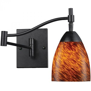 ELK Lighting One Light Dark Rust Espresso Glass Wall Light - 10151/1DR-ES