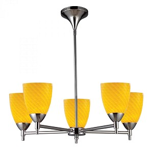 ELK Lighting Five Light Polished Chrome Canary Glass Up Chandelier - 10155/5PC-CN