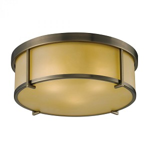 ELK Lighting Three Light Antique Brass Drum Shade Flush Mount - 11485/3