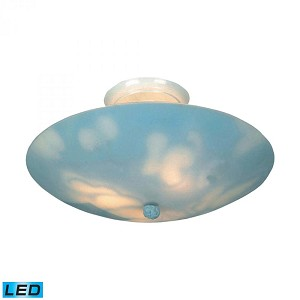 ELK Lighting Three Light White Bowl Semi-Flush Mount - 202-CL-LED