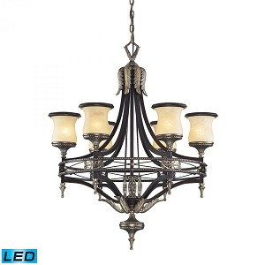 ELK Lighting Six Light Antique Bronze & Dark Umber Dark Umber And Marblized Amber Glass Up Chandelier - 2431/6-LED