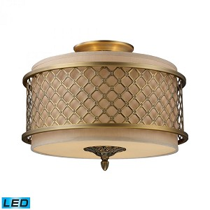 ELK Lighting Three Light Brushed Antique Brass Drum Shade Semi-Flush Mount - 31031/3-LED