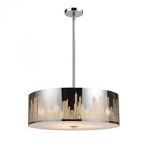 ELK Lighting Five Light Polished Stainless Steel Drum Shade Pendant - 31039/5