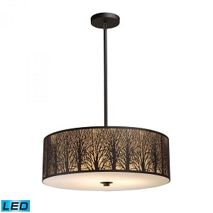 ELK Lighting Five Light Aged Bronze Drum Shade Pendant - 31075/5-LED