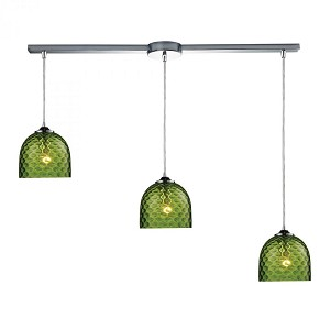 ELK Lighting Three Light Polished Chrome Multi Light Pendant - 31080/3L-GRN