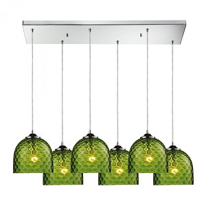 ELK Lighting Six Light Polished Chrome Multi Light Pendant - 31080/6rc-grn