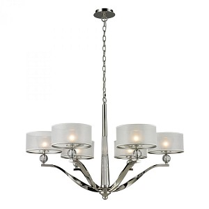 ELK Lighting Six Light Polished Nickel Drum Shade Chandelier - 31294/6