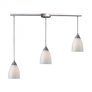 ELK Lighting Three Light Satin Nickel White Swirl Glass Multi Light Pendant - 416-3L-WS