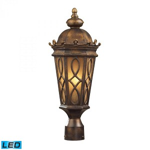 ELK Lighting Two Light Hazlenut Bronze Amber Scavo Glass Post Light - 42004/2-LED