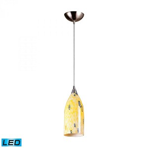 ELK Lighting One Light Satin Nickel Yellow Blaze Glass Down Pendant - 502-1YW-LED