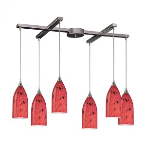ELK Lighting Six Light Satin Nickel Fire Red Glass Multi Light Pendant - 502-6FR