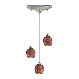 ELK Lighting Three Light Satin Nickel Copper Mosaic Glass Multi Light Pendant - 528-3CPR