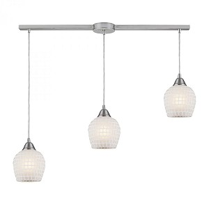 ELK Lighting Three Light Satin Nickel White Mosaic Glass Multi Light Pendant - 528-3L-WHT