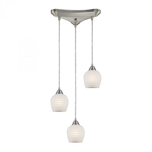 ELK Lighting Three Light Satin Nickel White Mosaic Glass Multi Light Pendant - 528-3WHT