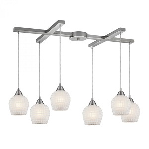 ELK Lighting Six Light Satin Nickel Copper White Glass Multi Light Pendant - 528-6WHT