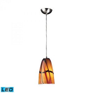 ELK Lighting One Light Satin Nickel Jasper Glass Down Pendant - 541-1JAS-LED