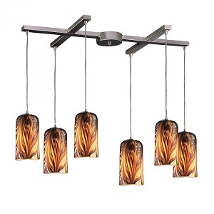 ELK Lighting Six Light Satin Nickel Molten Sunset Glass Multi Light Pendant - 544-6MS