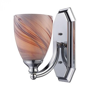 ELK Lighting One Light Polished Chrome Creme Glass Bathroom Sconce - 570-1C-CR