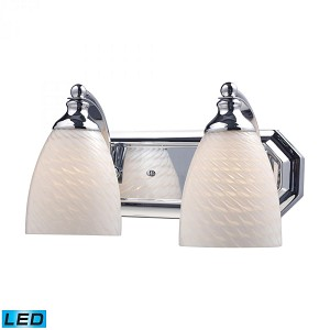 ELK Lighting Two Light Polished Chrome White Swirl Glass Vanity - 570-2C-WS-LED
