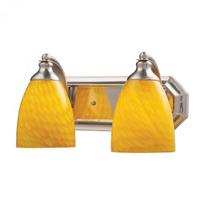 ELK Lighting Two Light Satin Nickel Canary Glass Vanity - 570-2N-CN