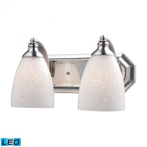 ELK Lighting Two Light Satin Nickel Snow White Glass Vanity - 570-2N-SW-LED